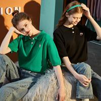 【2.5折价69.9元】蜡笔小新联名唐狮年夏季新款女短袖T恤Polo针织衫短款上衣