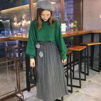 18版春装新款带毛球百褶裙半身裙呢子中长裙子女百搭