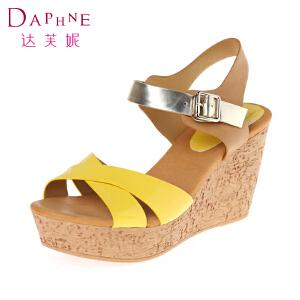 达芙妮凉鞋女 坡跟厚底女士凉鞋露趾松糕女鞋高跟鞋
