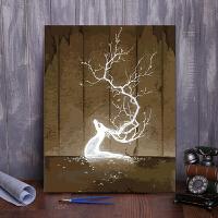 数字油画银光冰鹿风景花卉动物人物手绘油彩填色装饰画炫光鹿