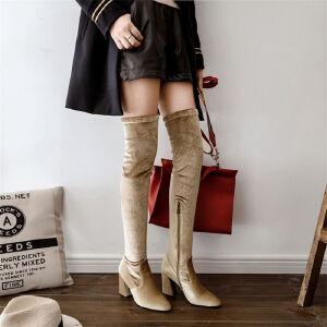 O'SHELL欧希尔新品133-9426欧美磨砂绒面粗跟高跟女士过膝长靴