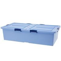 床底收纳箱塑料特大号床下衣服被子整理箱扁平衣物加厚滑轮储物箱 加长高款蓝 92*46*23 一个装