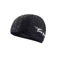 男女通用防水布游泳帽子时尚女士舒适速干头套游泳装备 7513泳帽-黑色