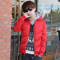 青少年学生男士羽绒服加厚冬装连帽外套男冬季韩版修身款潮流 条纹 大红色加厚 M 80-90斤