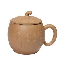 诗毅陶艺 紫砂杯 宜兴原矿纯手工段泥 茶杯 刻绘 荷花杯