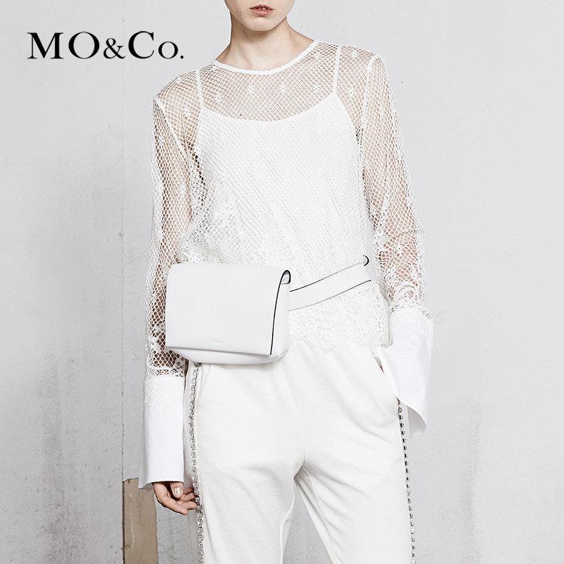 MOCO春季新品钩花加长袖蕾丝拼接上衣MA181TOP211 摩安珂 满399包邮 别致蕾丝钩花 个性拼接设计