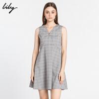 【超品日秒杀价147元】 Lily新款女装气质优雅格子V领无袖A字连衣裙118410C7639