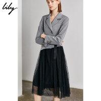 【不打烊价:649元】 Lily2019冬新款女装出游拼接网纱字母绣花高腰修身连衣裙7907