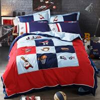 家纺简约卡通儿童四件套纯棉男孩1.2米床三件套床上用品1.5m 球艺大观