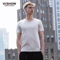 viishow夏装新款短袖T恤 欧美简约时尚圆领短袖男 纯棉纯色T