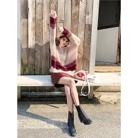 七格格针织衫女夏套头宽松2019新款秋季拼色韩版学生洋气时尚上衣