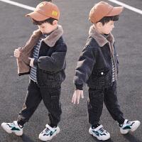 童装男童秋冬装套装儿童加绒洋气中小童牛仔两件套潮