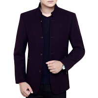 秋季新款品牌男装羊毛呢夹克韩版立领休闲中年外套爸爸装加肥
