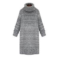 针织连衣裙秋冬女装20新款高领长袖中长款套头内搭打底毛衣裙子