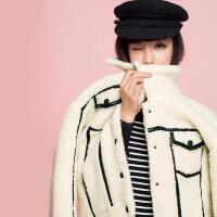 【9.21超级品牌日】七格格冬新款 撞色皮条装饰口袋设计宽松外套女CN241