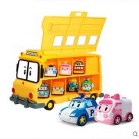 珀利玩具机器人益智合金车校车组合装