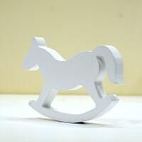 小木马儿童房摆件立体动物造型趣味装饰品 相框手足印搭配木质