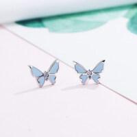 201807020823543182018新款925纯银耳钉女气质日韩国简约蝴蝶耳环耳饰品时尚潮个性