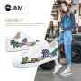 【低价秒杀】jm快乐玛丽秋季新款涂鸦舒适小白鞋个性平底系带板鞋女
