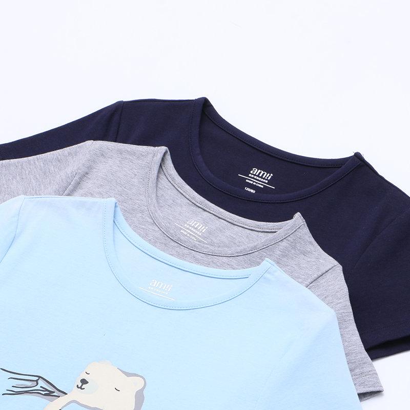 【尾品汇 5折直降】amii2017夏季新款大童儿童T恤简约H型舒适短袖纯色印花百搭童装