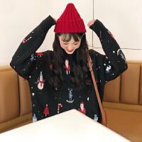 毛衣女新品圣诞老人毛衣圆领宽松套头刺绣情侣针织衫秋冬加厚外套超火的