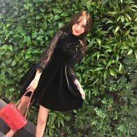 秋冬季裙子2018新款女韩版气质蕾丝金丝绒收腰显瘦大摆修身连衣裙 黑色