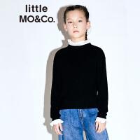 littlemoco秋季新品女童毛衣拼接假两件羊毛衫黑色毛衣童装针织