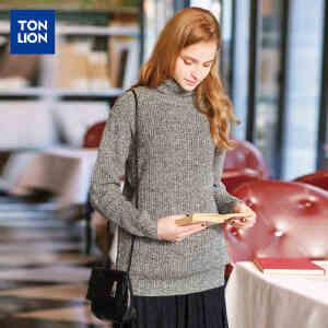 【2件3折价95.1元】唐狮春装毛衣女高领粗针净色中长款韩版休闲宽松女毛衫
