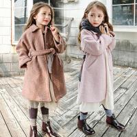 韩版2018冬季女童呢子大衣欧美英伦风腰带加厚加绒羊毛呢大衣外套