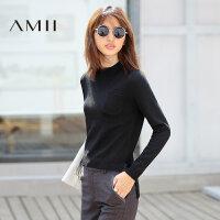 【品牌团 1件7折/2件5折】Amii[极简主义]秋装半高领前短后长加厚纯色套头毛衣女11692375