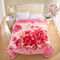 家纺2017秋冬款棉被子大红双喜字结婚双层加厚肤云毯婚庆保暖红色双人毛毯子床上用品