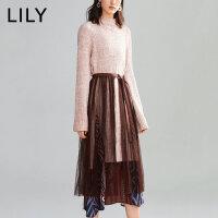 【1/18开抢 到手价280元】LILY冬新款女装设计感三件套毛衣压褶网纱连衣裙119430P7313