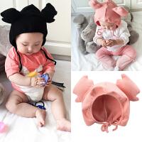 新生儿帽子春秋冬季男女宝宝0套头帽1岁防风针织6月帽婴儿鹿角帽