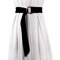 新品韩版麂皮绒彩色女士裙裤装饰腰带 双环金属皮带学生腰带潮女