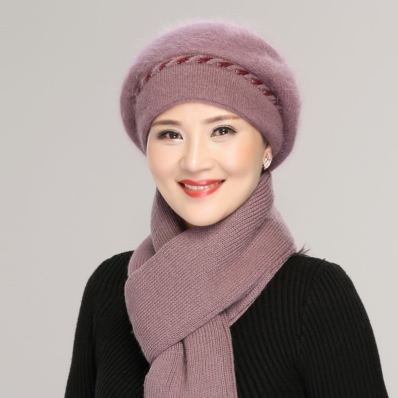 中年兔毛线帽子女冬季老年人帽子女冬天保暖妈妈奶奶婆婆帽贝雷帽
