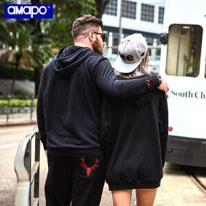 【限时抢购到手价:105元】AMAPO潮牌大码男装加肥加大潮胖子宽松嘻哈长袖情侣连帽套头卫衣