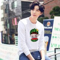 春男式套头卫衣韩版男装学生潮流休闲男士个性长袖T恤打底 白色