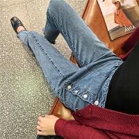 七格格高腰牛仔裤女2019秋季新款韩版修身显瘦九分裤学生直筒裤子