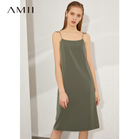 Amii极简法式心机吊带连衣裙女夏季新款一字领缎面雪纺字裙