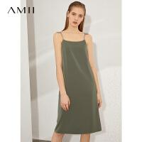 Amii极简法式心机吊带连衣裙女夏季新款一字领缎面雪纺A字裙