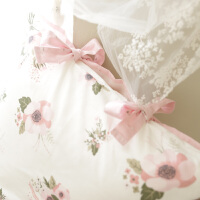 淡紫色小碎花绑带蝴蝶结少女床单床笠纯棉被套四件套夏季