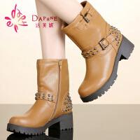 【年终狂欢】达芙妮女靴冬季英伦粗跟女鞋休闲舒适包邮铆钉马丁靴女短靴