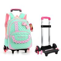 依贝奴书包儿童背包PU防水小学生六轮拉杆书包配习袋可爬楼梯可拆装减负透气儿童学生书包