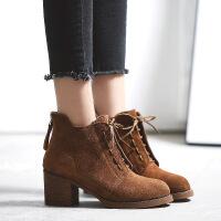 2017新款马丁靴女牛皮复古英伦切尔西靴粗跟靴子裸靴一件