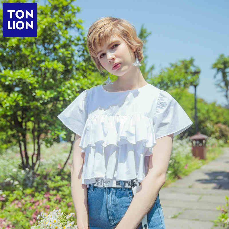 【新品直降价109元】唐狮新款衬衫女圆领套头纯白色褶皱荷叶边娃娃款夏季甜美短袖 限时折扣