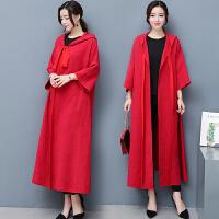 中国风改良汉服红色斗篷女外套开衫外披肩中长款大衣宽松棉麻春秋