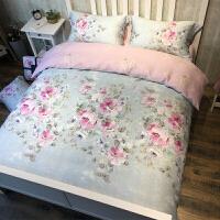 家纺天丝磨毛四件套加厚秋冬保暖1.8m床单被套婚庆床上用品立暖绒床单