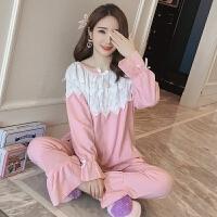 秋季女士睡衣粉色纯棉长袖家居服套装休闲可爱清新公主学生可外穿 #54