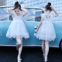 夏季女童裙子夏季新款韩版时尚童装纯色网纱公主裙
