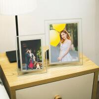 相框摆台创意欧式水晶玻璃8寸个性相片制作框diy定制个性照片框画 8寸水晶玻璃相框